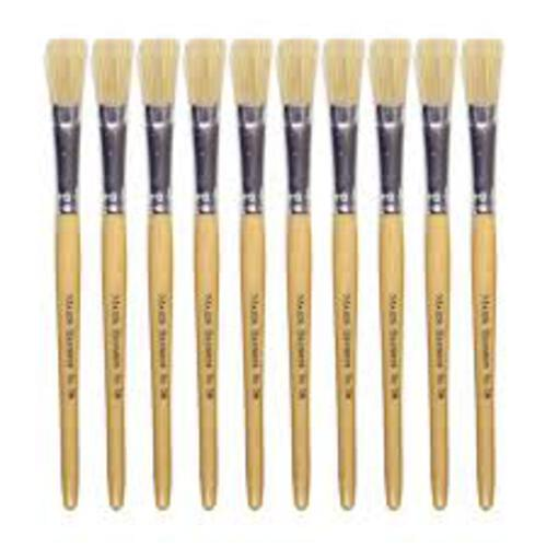 Hog Bristle Brush Short Handle Round #12 - 10pk