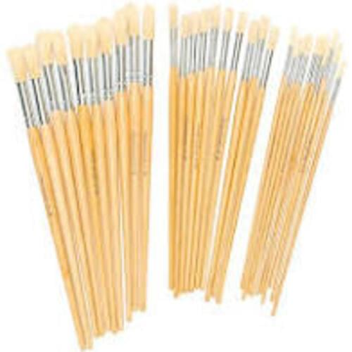 Hog Bristle Brush Long Handle Round #4 - 10pk