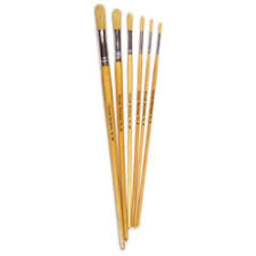 Hog Bristle Brush Long Handle Round #14 - 10pk