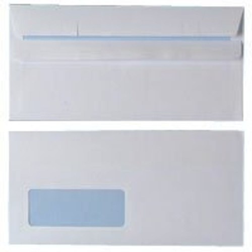 Envelopes White DL Window 90gsm Self Seal Pk1000