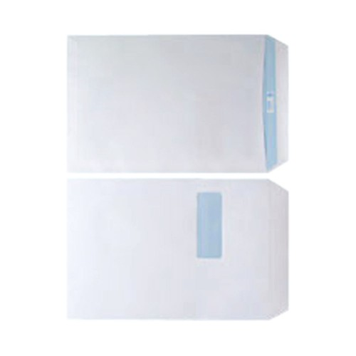 Envelopes White C4 Window 90gsm  Self Seal  P250