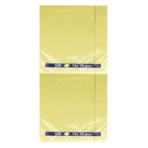 Repositionable Note Yellow 75x75mm Pk12