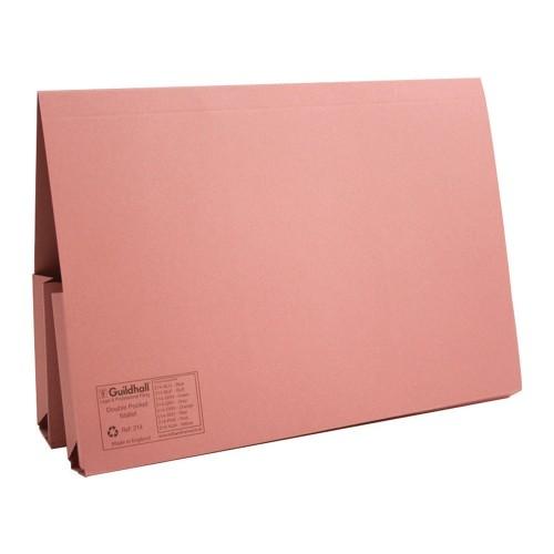 Bomfords Double Pocket Wallets Manilla Foolscap Pink