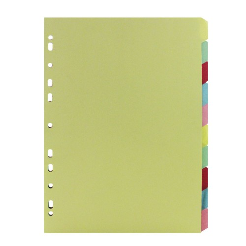 Dividers Multi-Colour A4 10-Part Manilla