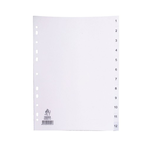 Dividers White A4 1-12 Polypropylene