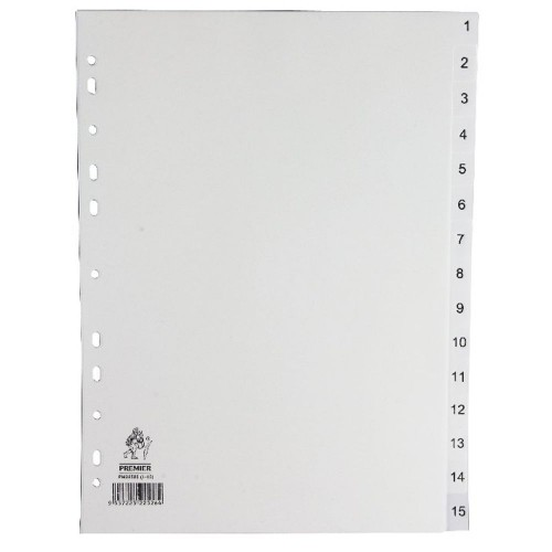 Dividers White A4 1-15 Polypropylene
