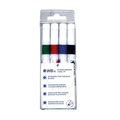 Whiteboard Marker Chisel Tip Assrtd Pk4