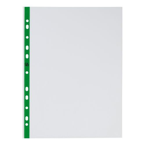 A4 Delux Punched Pocket Green Stripe Top Opening
