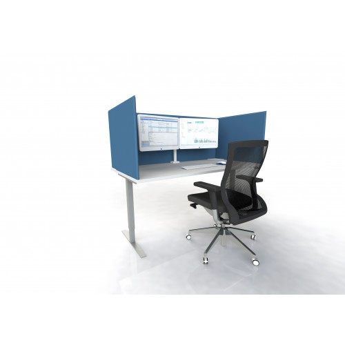 FRVDS16 vinyl wrapped desk mounted safety screen 1600mm