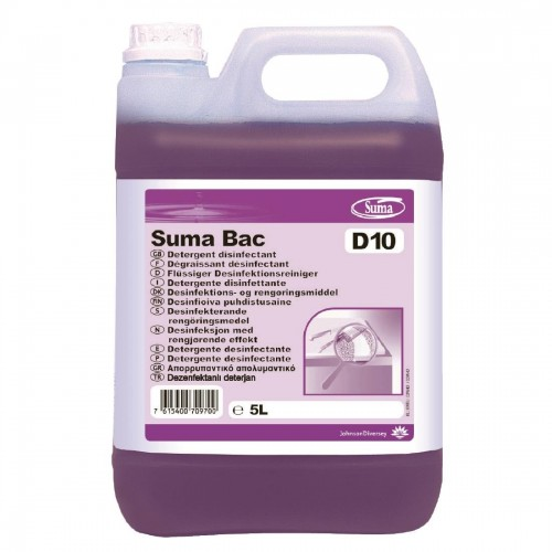 Suma Bac D10 Cleaner and Sanitiser Concentrate 5Ltr (2 Pack)
