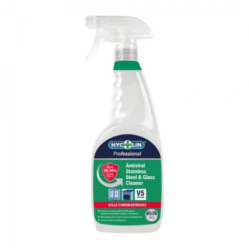 V5 Hycolin Professional Antiviral Stainless Steel & Glass Cleaner (6 x 750ml) Cleaning Fluids 800-277-0702