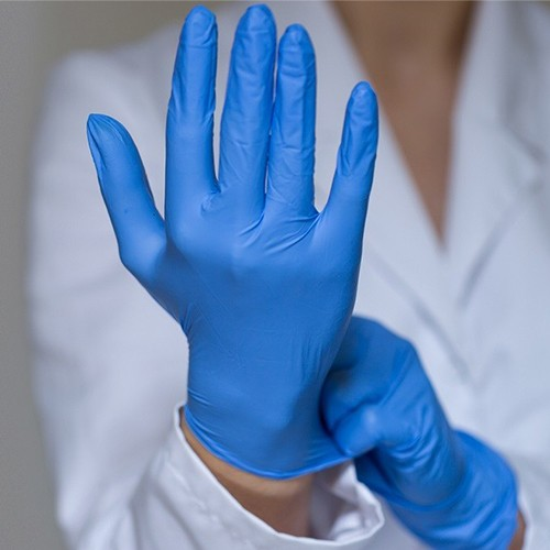 100 x Blue Nitrile Powderfree Gloves - L / Large