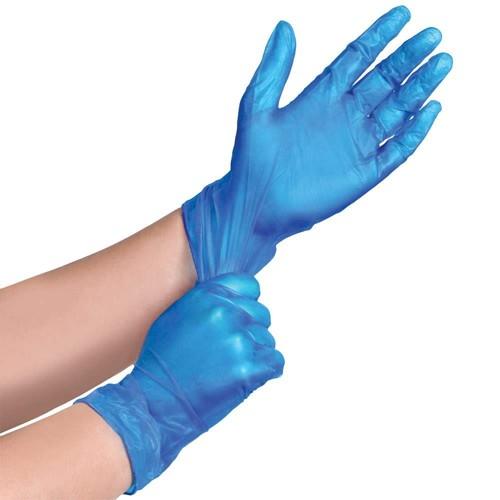 100 x Blue Vinyl Powdered Gloves - Large