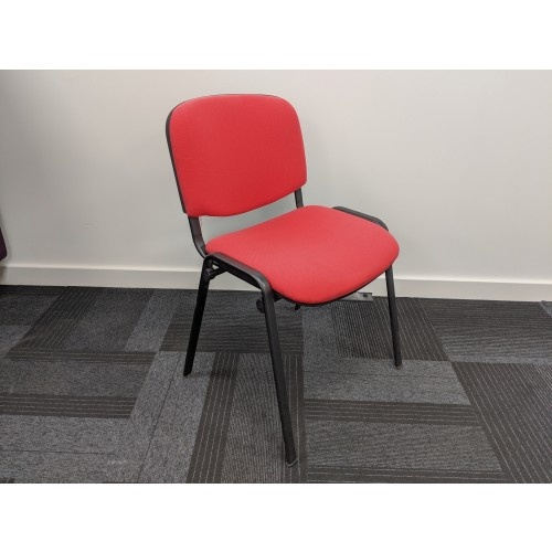 Ex-Display Taurus meeting room stackable chair with black frame and no arms - red