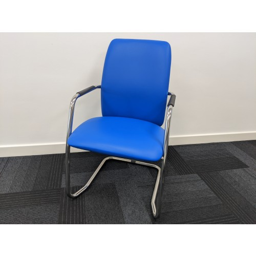 Tuba chrome cantilever frame conference chair with fully upholstered back - Ocean Blue vinyl