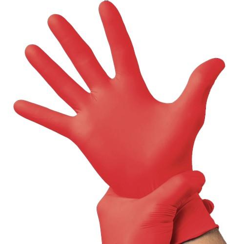 100 x Red Vinyl Powder Free Gloves - Small
