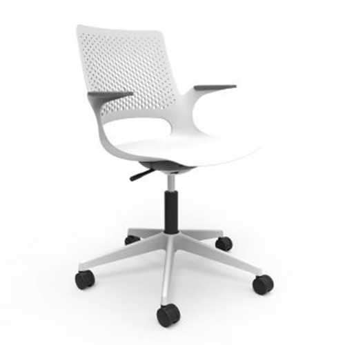 Ex-Display Solus White mesh back operators chair with plastic seat
