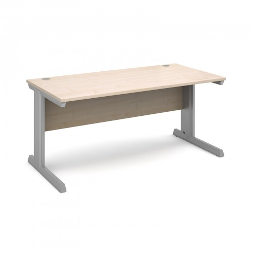 Ex-Display Vivo straight desk 1600mm x 800mm - silver frame and maple top