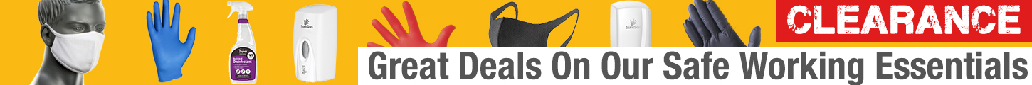 Clearance Deals on Safe Working Essentials, Gloves, Masks & Cleaning Fluids