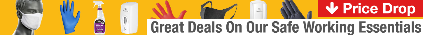 Deals on Safe Working Essentials, Gloves, Masks & Cleaning Fluids