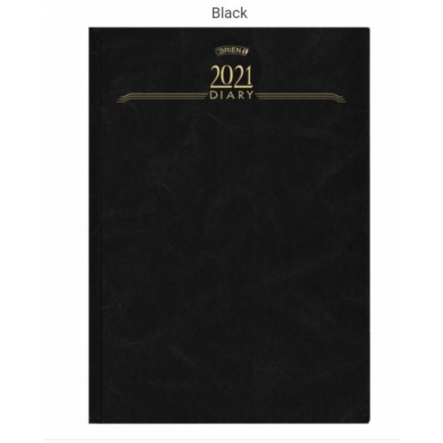 OBrien A4 1 Day per Page Hardback Diary 2021 Appointments Black BD1