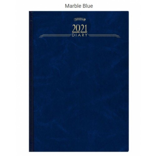 OBrien A4 1 Day per Page Hardback Diary 2021 Appointments Marble Blue