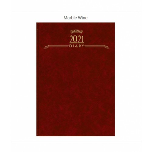 OBrien A51 Day per Page Hardback Diary 2021 App Marble Wine CD1