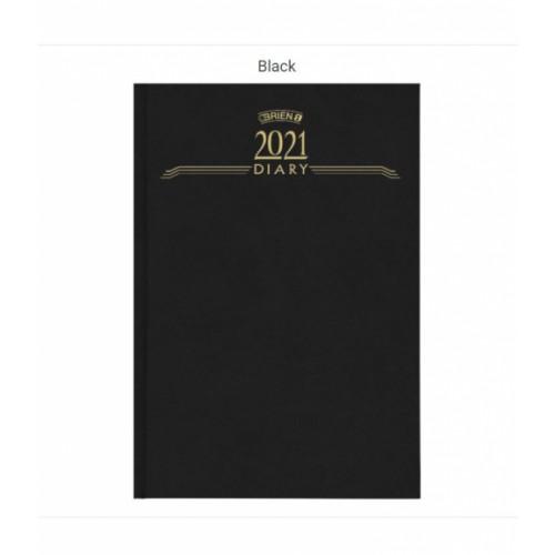OBrien A5 Week to View Hardback Diary 2021 Black CD3