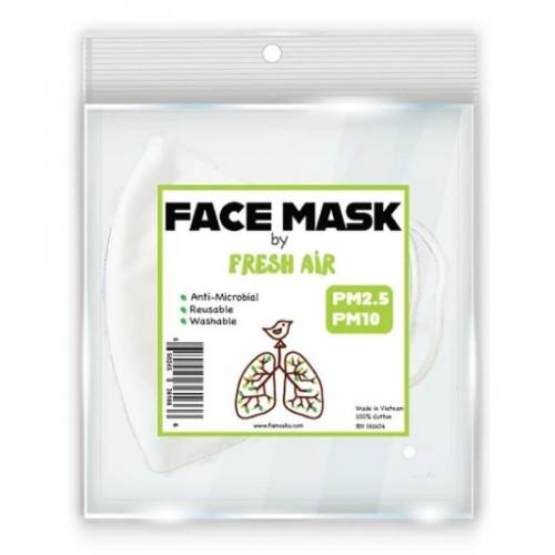 Fresh Air Re-usable Mask 100% Cotton Anti-Microbial White PM2.5 PM10