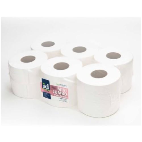 "Mini Jumbo Toilet Roll 2 Ply 87mmx150mm 3"" Core White Pure Tissue Pk12"