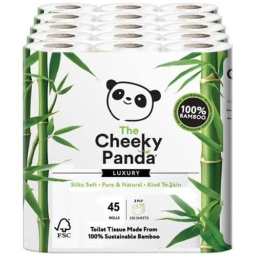 THE CHEEKY PANDA 3PLY LUXURY TOILET ROLLS 100% VIRGIN BAMBOO CASE 45