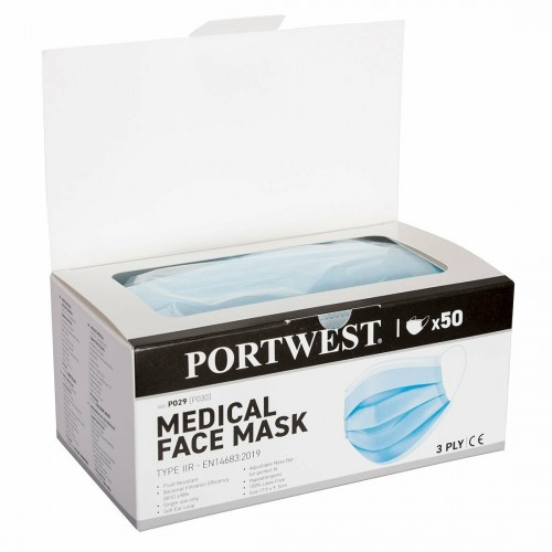 PORTWEST P029 - Medical Mask Type IIR Dispenser box 50