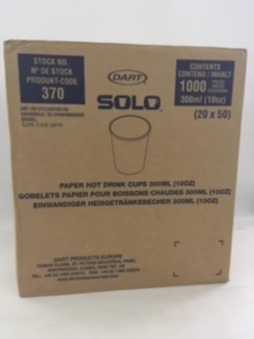 10oz SOLO HOT CUPS PAPER WHITE PK 1000