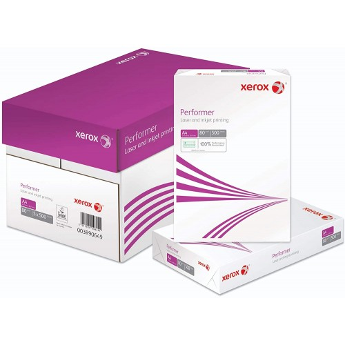 Xerox Performer A4 White 80gm Laser and Inkjet paper Boxed 2500 Sheets (5 x 500 sheets)