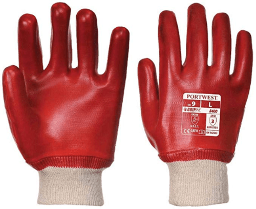 Large Size 9 Red Pvc Knitted Wrist Gloves A400L