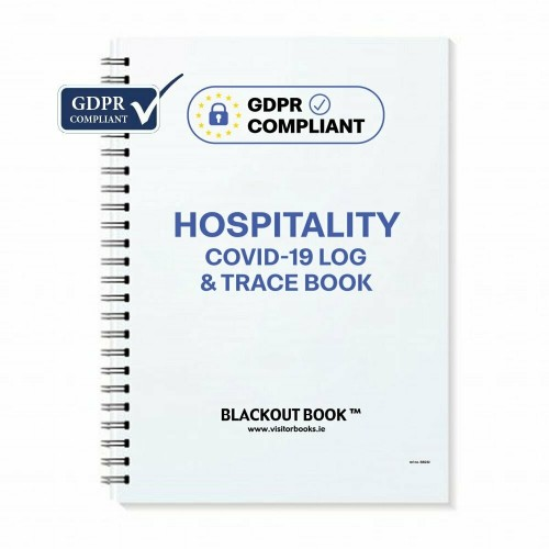 Blackout Book GDPR Compliant Covid-19 Log and Trace Book with Table No. for hospitality settings