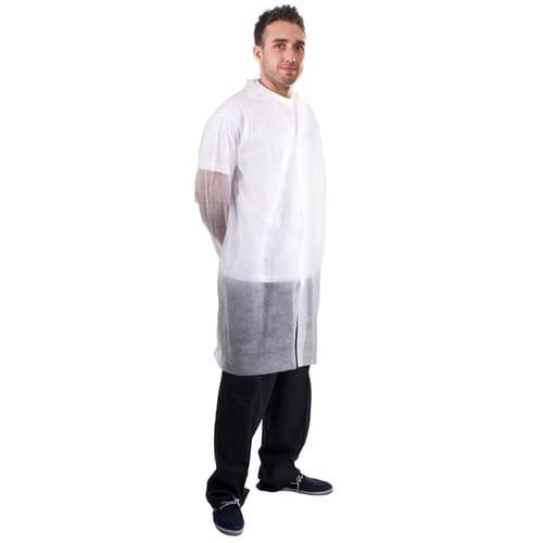 White N/W Vis Coat Velcro XL - 50pieces