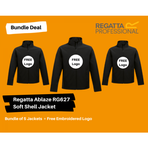 5 Soft Shell  Jackets  + Your Logo Bundle Deal