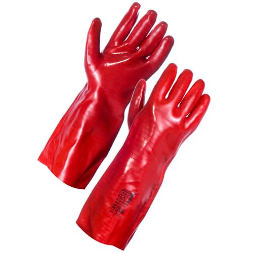 Red PVC S/Dip Gauntlet 40cm - 5x12