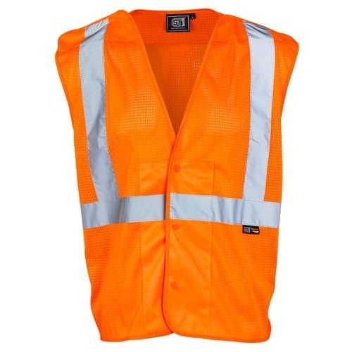 Hi Vis Polyester Mesh Vest Orange-XLarge -50Pcs