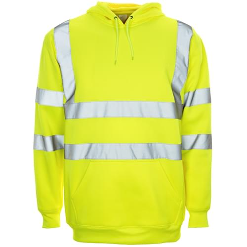HV Yellow Hodded pull over - Large
