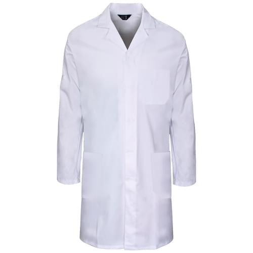 245gsm poly cotton c/cuff lab coat white-20pcs/case- S with pockets