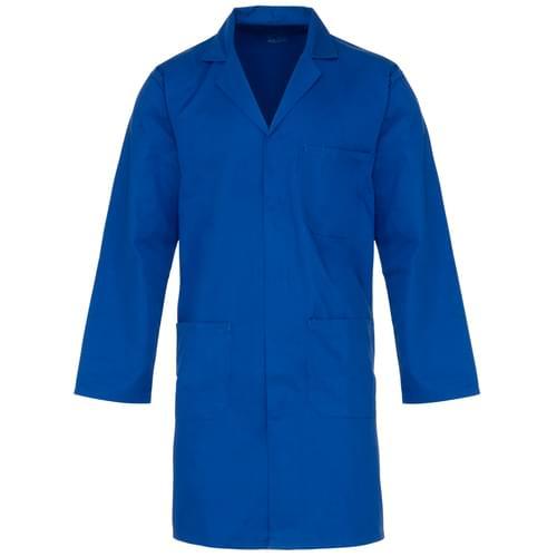 245gsm poly cotton c/cuff lab coat royal blue-20pcs/case- 3XL with pockets