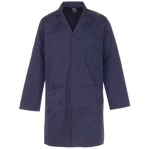 245gsm poly cotton c/cuff lab coat navy blue-20pcs/case- XL with pockets