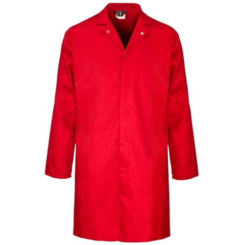 Food coat polycotton 245gsm with inside pocket - Red - 3X Large