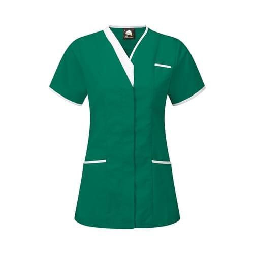 Orn Tonia V-Neck Tunic Bottol Green / White Size 8