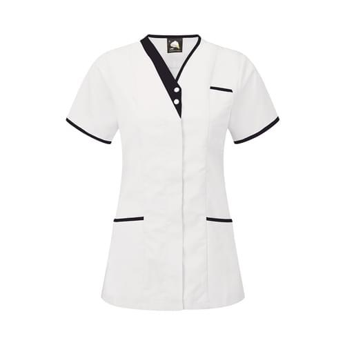 Orn Tonia V-Neck Tunic White / Navy Size 18