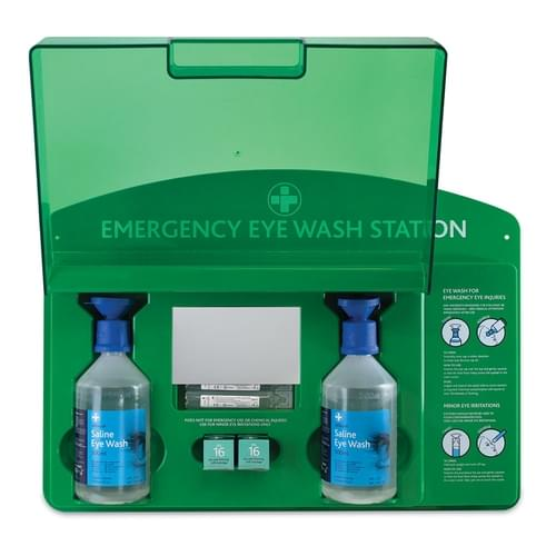 EMERGENCY EYE WASH STATION COMPLETE WITH 20ML PODS/500ML BOTTLES/EYE PADS/MIRROR
