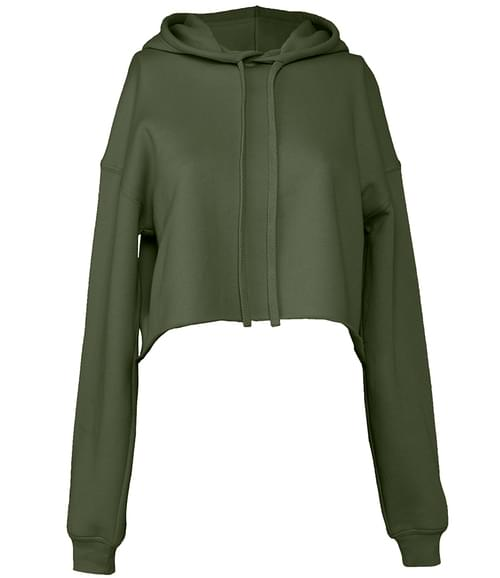 Bella Cropped Hoodie Military Green Size M