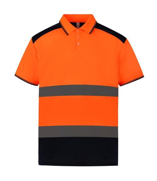 Yoko 2-Tone S/S Polo Shirt Orange/navy Size XL